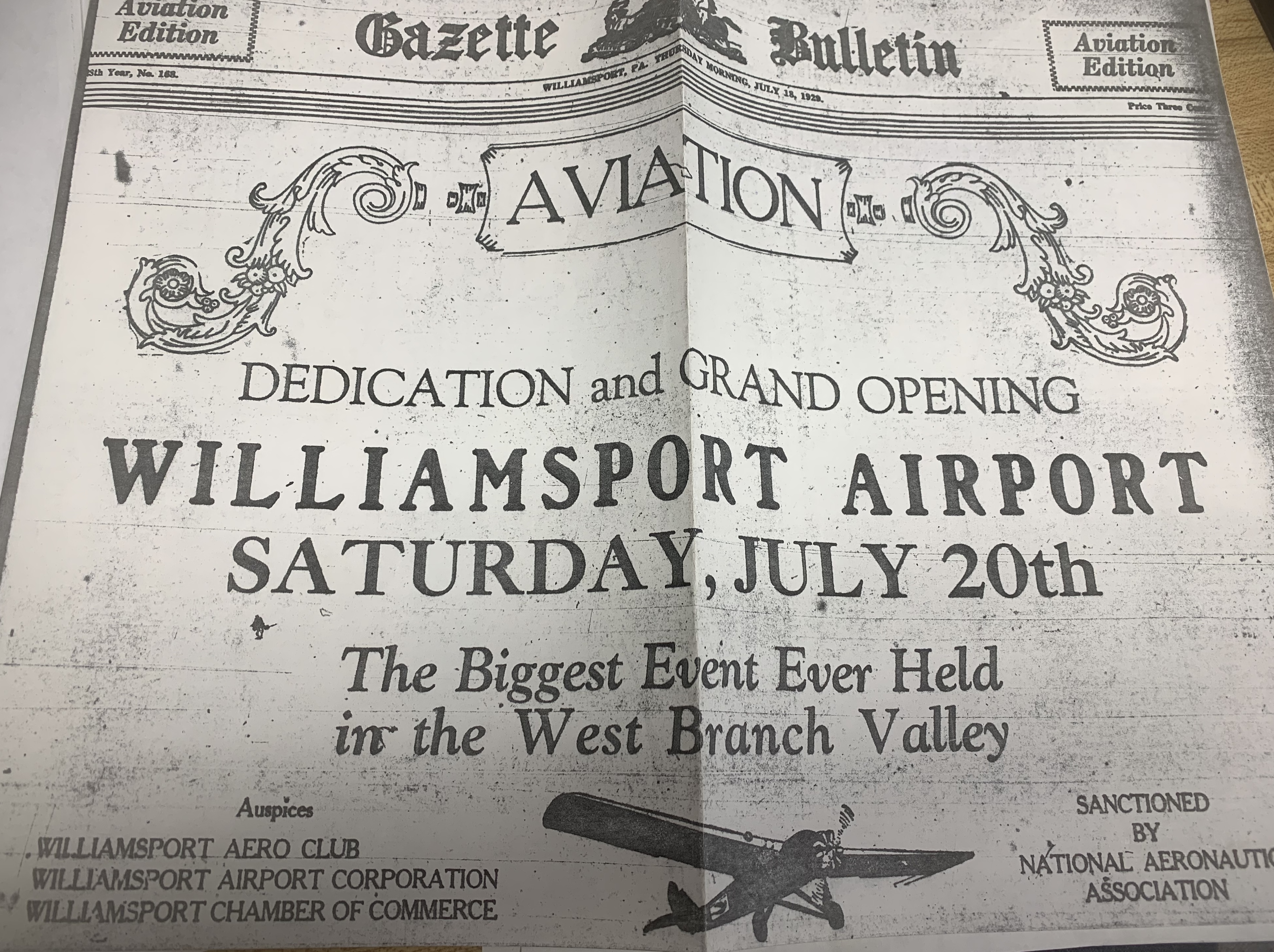 Newspaper advertisement July 18, 1929